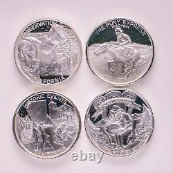 1 lot, 92.5% Silver, 4 Troy Ounces total, Sterling Silver Proof Medals