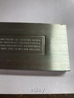 10,000 Grains 663.9 Grams Sterling Silver Ingot By Franklin Mint
