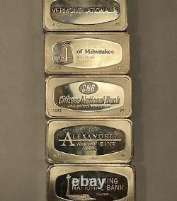 10.4 Troy Oz Of Silver 5 Proof Bars FM Sterling From 1972 All Different Backs