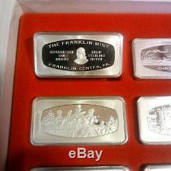 10x Set 1,000 Grain Sterling Silver Christmas Ingot Franklin Mint 1970-1979