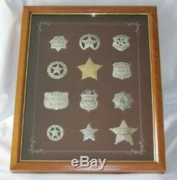 12 Collectable 1987 Franklin Mint Sterling Silver Western Lawmen Police Badges