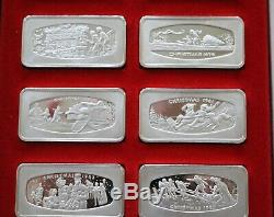 (12) FRANKLIN MINT CHRISTMAS STERLING SILVER INGOTS 1970's & 1980s COA/BOXES