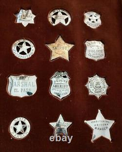 (12) FRANKLIN MINT STERLING SILVER BADGES of GREAT WESTERN LAWMEN WithDISPLAY CASE