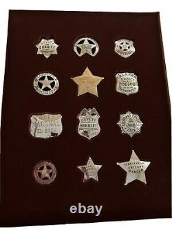 12 Sterling Silver Official Badges Of Great Western Lawmen (franklin Mint) 1991