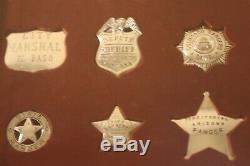12 sterling silver Western Lawmen Badges framed set Franklin Mint