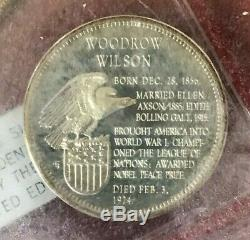 1967 Franklin Mint Sterling Silver 35 US Presidents Set in Original Box