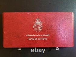 1969 Franklin Mint Tunisia 10-Coin Sterling Silver Proof Set COA, Box