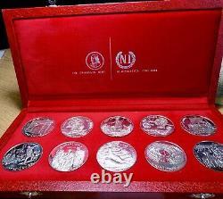 1969 République Tunisienne 10 coin Sterling Silver Proof Set Franklin Mint Set