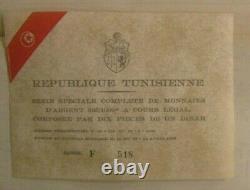 1969 Republique Tunisienne Tunisia 10 Coin Set Franklin Mint STERLING SILVER