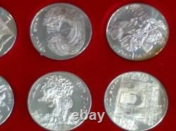1969 Tunisia Tunisienne Franklin Mint 10 Coin Proof Sterling Silver Set