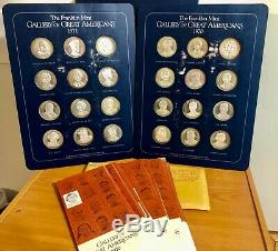 1970 & 1971 Franklin Mint Gallery of Great Americans Sterling Silver Proof