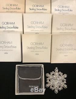 1970 -1979 Gorham Sterling Silver Snowflake Ornaments (Lot of 10) boxes