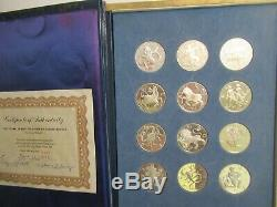 1970 Franklin Mint Sterling Silver Treasury of Zodiac Medals, 12 medals, COA