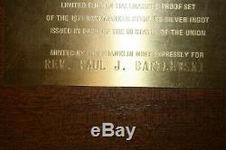 1971 Franklin Mint 50 State Bankmarked Sterling Silver Ingot Set In Wooden Case