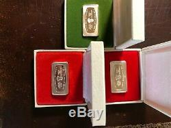 1972-73-74 franklin mint, 2.1 oz silver bars total, 6.3 troy oz, sterling silver