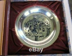 1972 First Annual Thanksgiving Plate Sterling Silver Franklin Mint