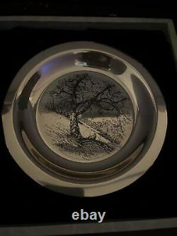 1972 Franklin Mint Along the Brandywine James Wyeth Sterling Silver Plate LE