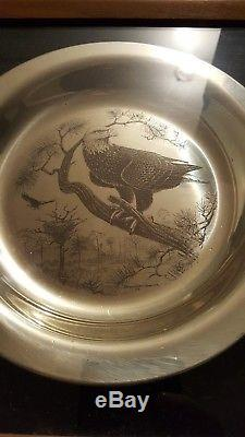 1972 Franklin Mint Limited Edition Sterling Silver Bird Plates Set of Four