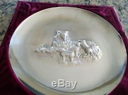 1972 Franklin Mint Sterling Silver 8 Mother's Day Plate in Box dog and her pups