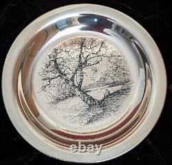 1972 James Wyeth Along the Brandywine Franklin Mint Sterling Silver Plate