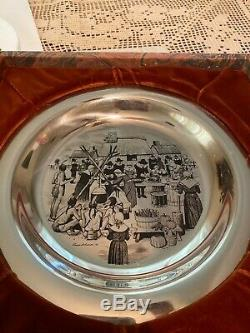 1972 Solid Sterling Silver Franklin Mint- First Annual Thanksgiving Plate