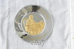 1973 Franklin Mint Sterling Silver 24K Gold Bicentennial Plate Thomas Jefferson