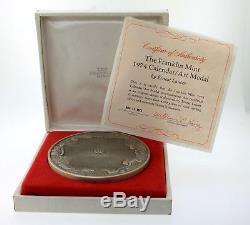 1974 Franklin Mint Calendar/Art Medal Sterling Silver 76mm Lauser 294.3gr