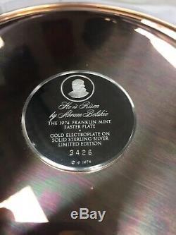 1974 Franklin Mint Easter Plate By Abram Belskie He Is Risen 925 Sterling Silver