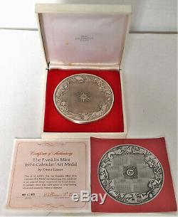 1974 Franklin Mint Zodiac Calendar Art Medal- 9 Oz. 925 Sterling Silver Box Coa