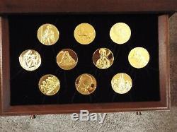 1974 Genius of Leonardo da Vinci Solid Sterling Silver & 24K Gold Medal Set