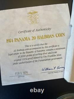 1974 panama 20 balboas sterling silver coin with COA Approx 4.57 Oz Of Silver