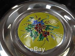1975 FRANKLIN MINT STERLING SILVER CHAMPLEVE PLATE FOUR SEASONS SET of FOUR