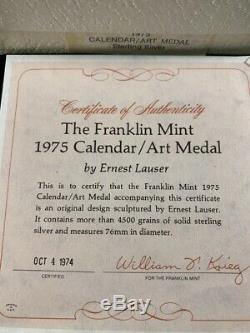1975 Franklin Mint STERLING SILVER Art Calendar/Art Medal 9.375 TROY OUNCE