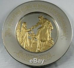 1975 Franklin Mint Sterling Silver & 24K Gold Bicentennial Plate Caesar Rodney