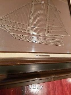 1976 Franklin Mint AMERICA Sterling Silver Silhouette Ship Framed