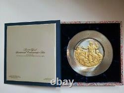 1976 Franklin Mint Bicentennial Commemorative Gold/sterling Silver Plate Adams