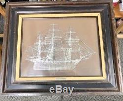 1976 Franklin Mint Frigate La Belle Poule Sterling Silver Silhouette Ship Framed