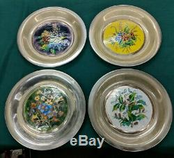 1976 Franklin Mint Sterling Silver Champleve Plate Four Seasons Complete Set Lot