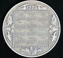 1978 Mayan Aztec Calendar Sterling Silver Round Medal 3 Franklin Mint 293.3g