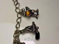 1980 franklin mint sterling silver and jewels animals charm bracelet 7-3/8 inch