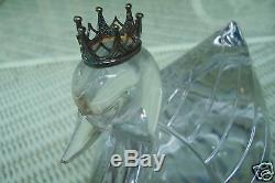 1984 FRANKLIN MINT $450 CRYSTAL SWAN with STERLING SILVER CROWN 7LB 7 1/2 X 6