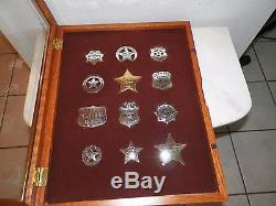 1987 Franklin Mint Sterling Silver Law Man Badge Collection With Display Case