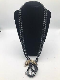 1987 Franklin Mint Year Of The Dragon 30 Onyx Bead Necklace And Sterling Silver