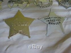 1987 Franklin Mint set of ten. 925 Sterling Silver Western Lawmen Badges