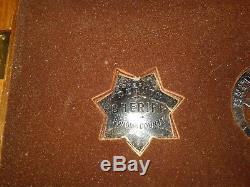 1987 Great Western Lawmen Badges Set Sterling Silver Franklin Mint Oak Display