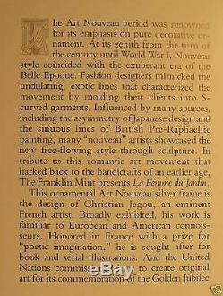 1989 Art Deco Repousse Sterling Silver Picture Frame La Femme du Jardin by Jegou