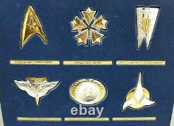 1992 FRANKLIN MINT STAR TREK INSIGNIA Set of 24 STERLING SILVER w Case & Boxes
