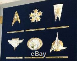 1992 Franklin Mint Star Trek Insignia. 925 Sterling Silver Series with Display
