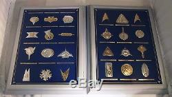 24 FRANKLIN MINT STAR TREK INSIGNIA 1st & 2nd SERIES IN STERLING SILVER with CASES