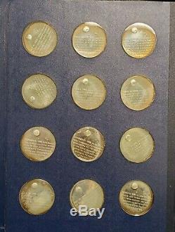 (24) Pc America in Space Franklin Mint Sterling Silver Proof Medal Set in Album